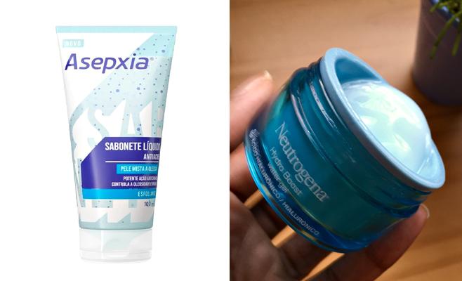 - Sabonete Líquido Esfoliante Antiacne Pele Mista a Oleosa, Asepxia; - Hidratante Facial Hydro Boost Water Gel, Neutrogena.